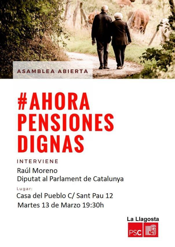 Cartel Asamblea Abierta pensiones llagosta